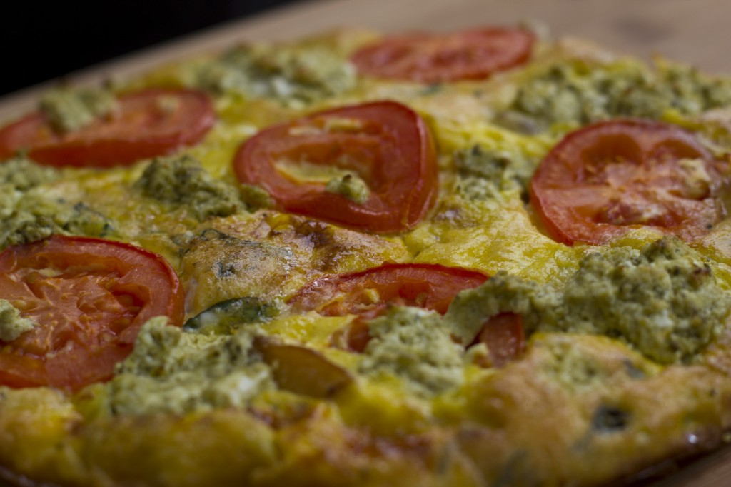 Tomato and Pesto Goat Cheese Frittata