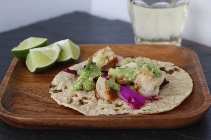 Fish Tacos with Cabbage Slaw and Tomatillo Avocado Salsa