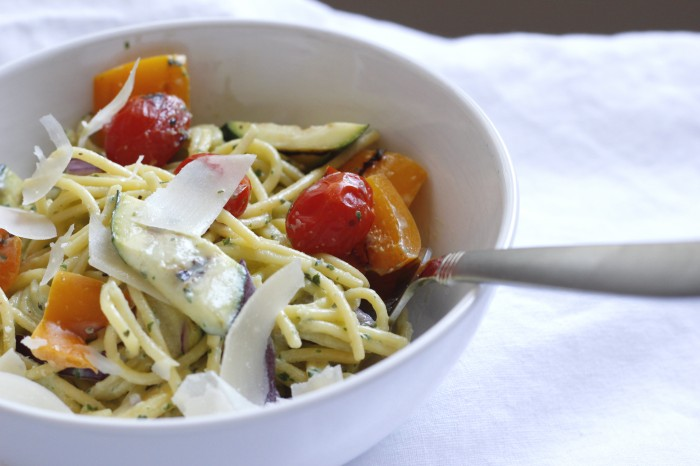 Pasta with Grilled Vegetables and Basil Cream Sauce